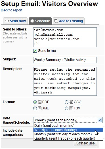 google analytics v2 email and schedule reports