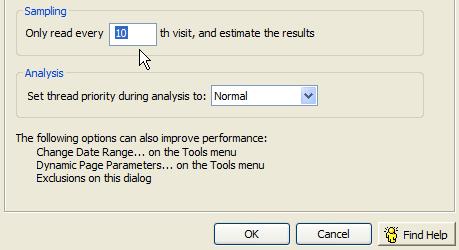 clicktracks data sampling options
