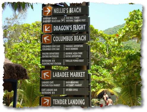 labadee there is a lot to do here sign post