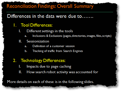 data reconciliation summary