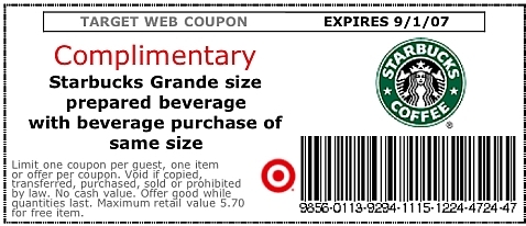 Starbucks Coupon  Coupon Disclaimer Examples