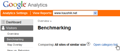 google analytics benchmarking categorization