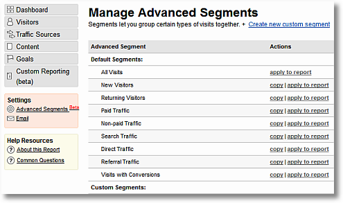 advanced segmentation in google analytics