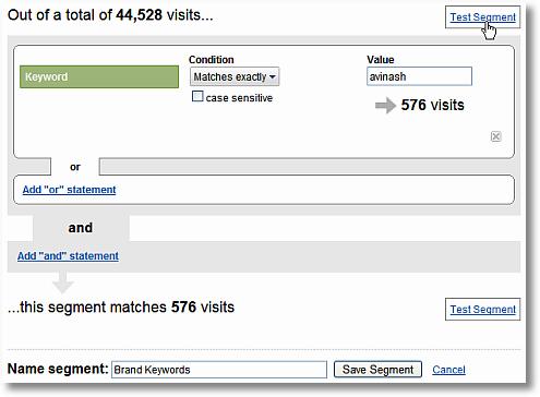 brand keyword segment testing