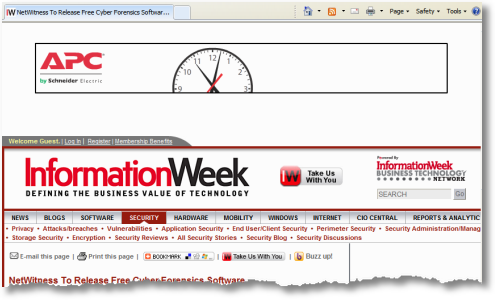 information week ad in header