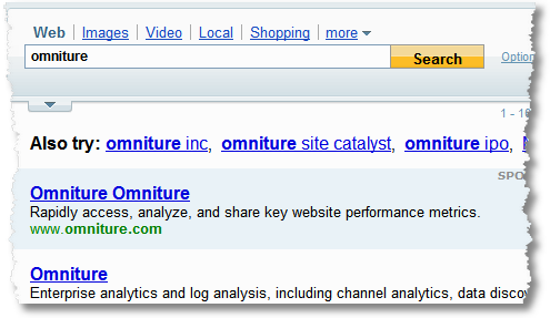 omniture on yahoo 1