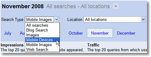 mobile searches google webmaster tools