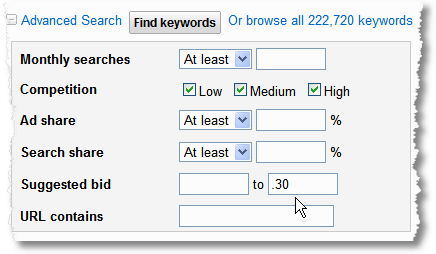 identifying low cost long tail search keywords