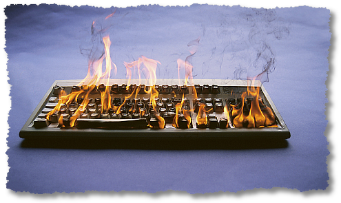 keyboard on fire