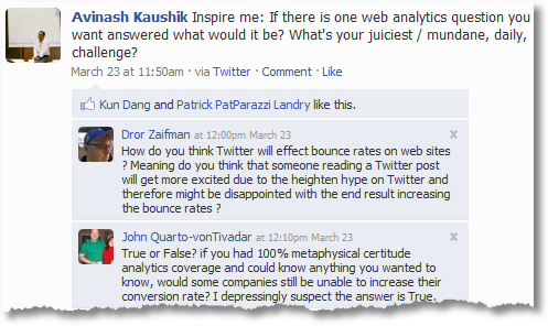 Web Metrics & Analytics Questions, Facebook Edition
