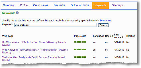 bing webmaster tools report