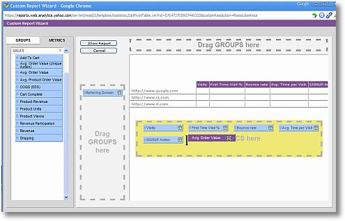 yahoo web analytics custom report