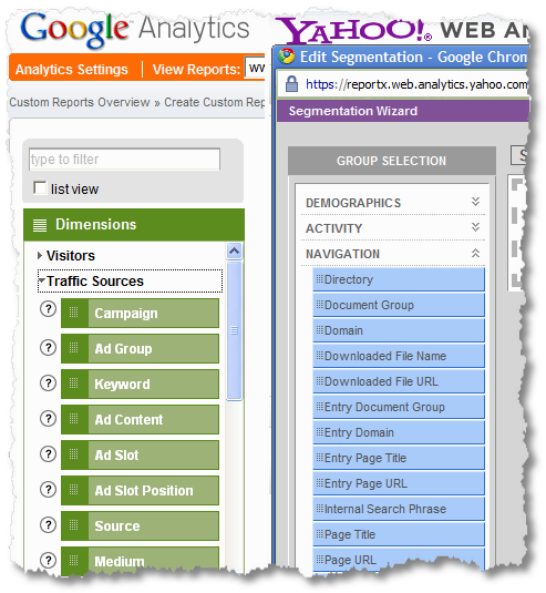 web analytics tools dimension chooser