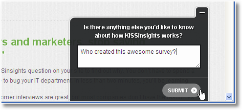 kissinsights survey invitation