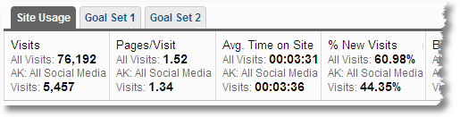 visits pages per visit avg time on site percent new visits bounce rates