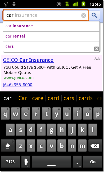 geico click to call mobile ad