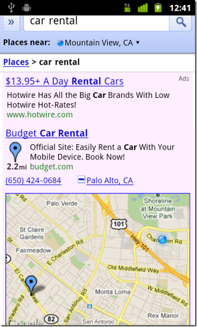 mobile ad map budget car rental