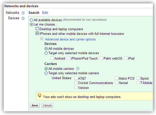 mobileads device carrier settings