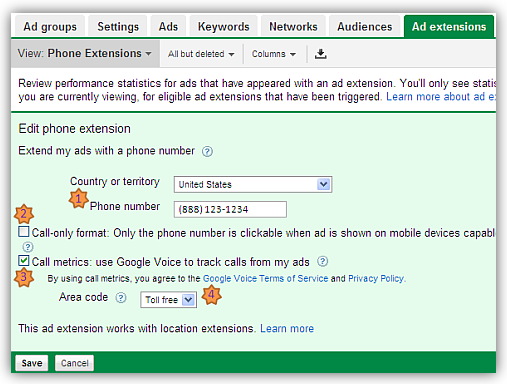 settingup click to call ads