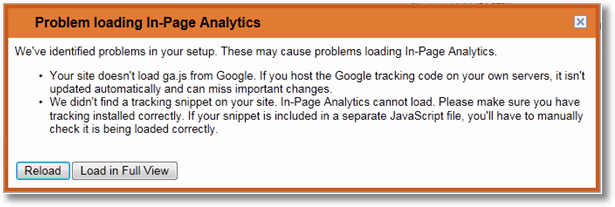in page analytics error2 11