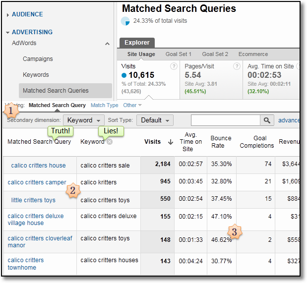 matched query type adwords