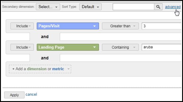 table filters google analytics