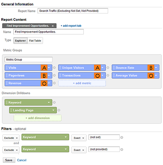 google analytics custom report paid vs organic sm