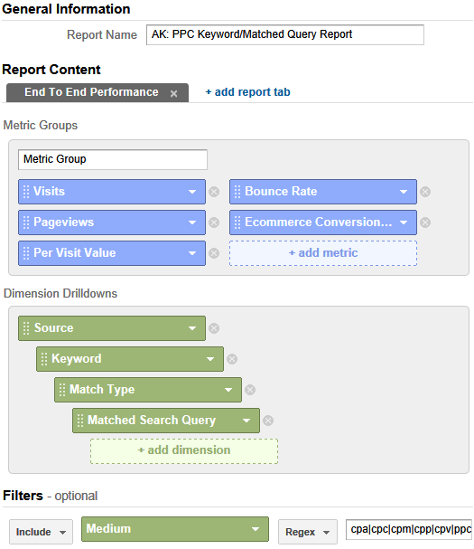 google analytics matched query type custom report