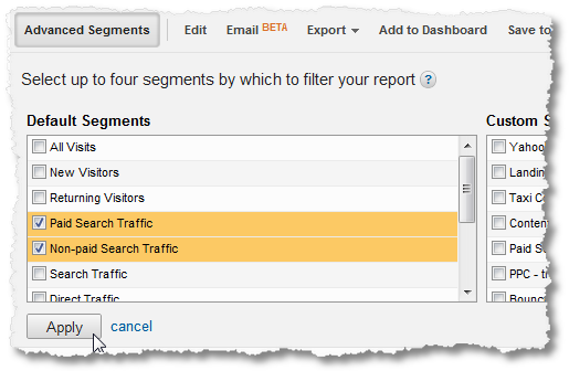 search advanced segments