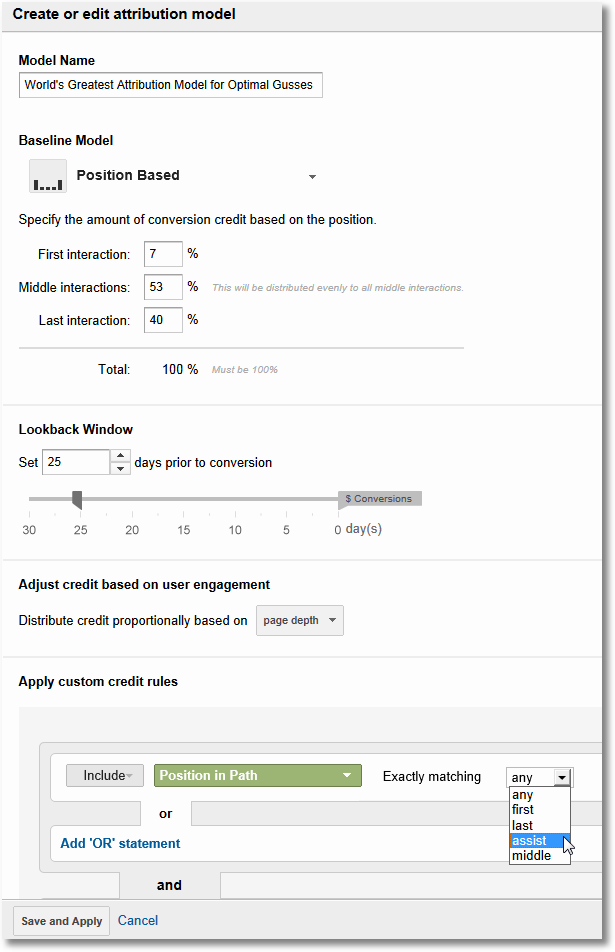 custom attribution models-google analytics