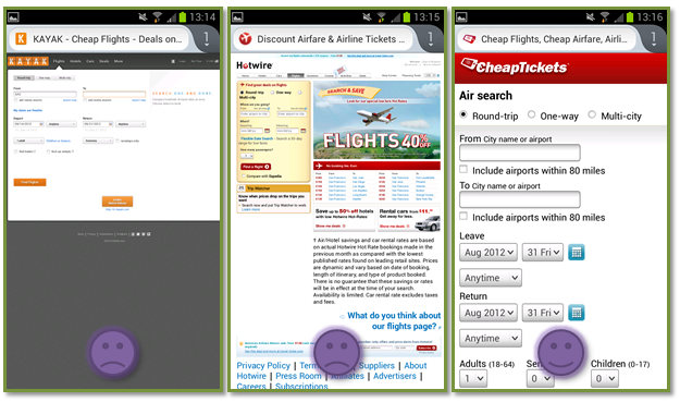 kayak hotwire cheaptickets mobile experience