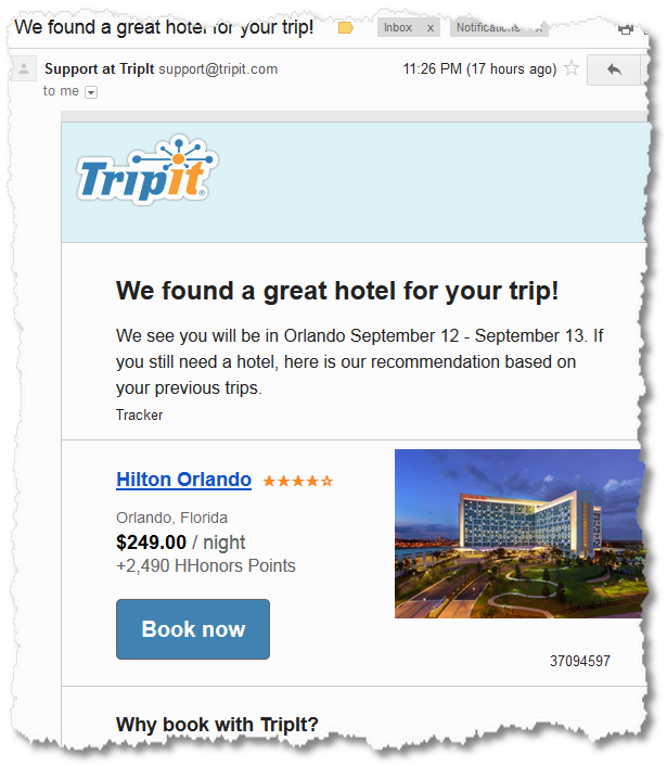 tripit email hotel offer