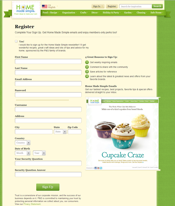 Fabreze email signup
