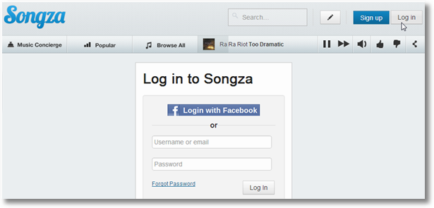 songza login