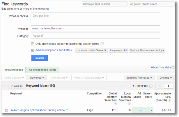 adwords keyword tool keyword ideas