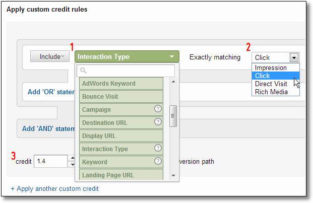 custom attribution model step four custom credit rules