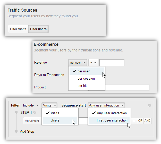 new google analytics segmentation options