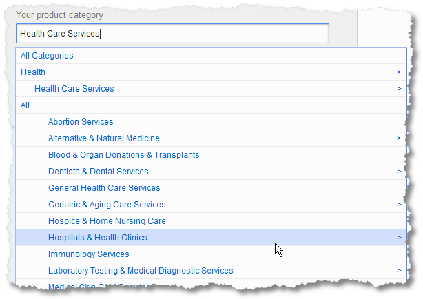 product category keyword searches