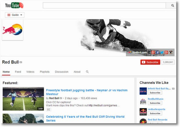 redbull brand channel youtube
