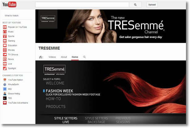 tresemme amazing youtube channel