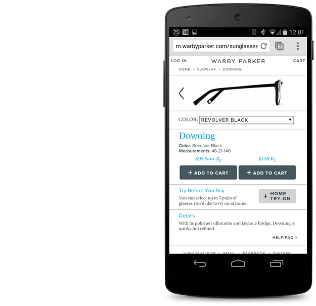 mobile experience warby parker