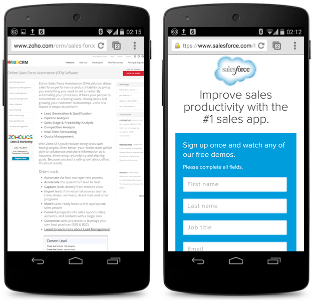 mobile experience zoho sales forces