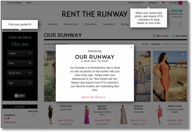 rent a runway landing page