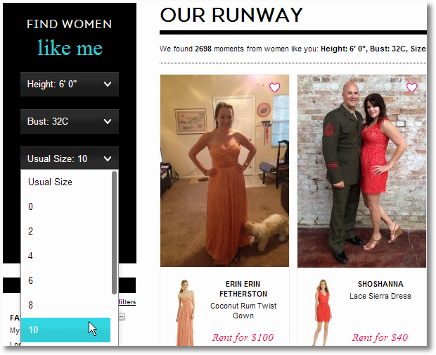 rent a runway like me selector