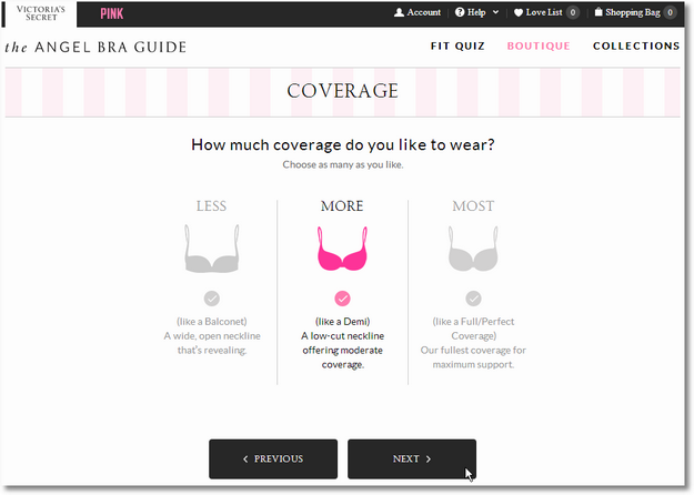 victorias secret boutique bra coverage