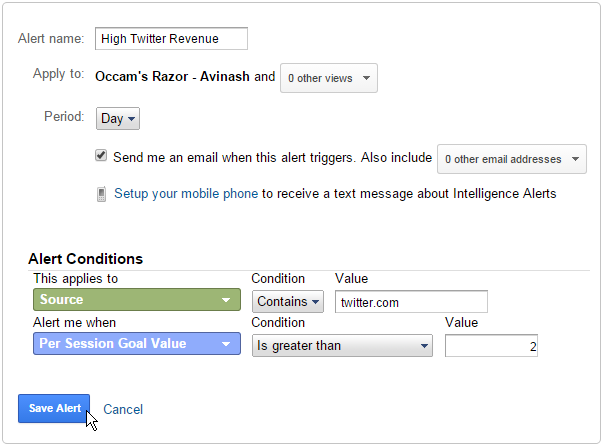 twitter custom alert google analytics
