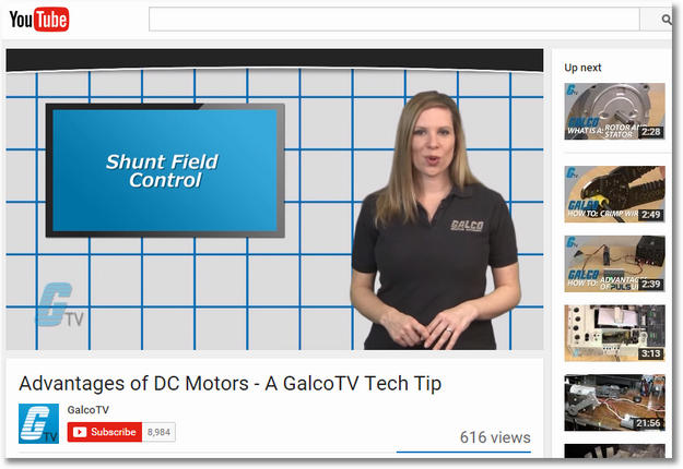Galco TV YouTube advantages of dc motors