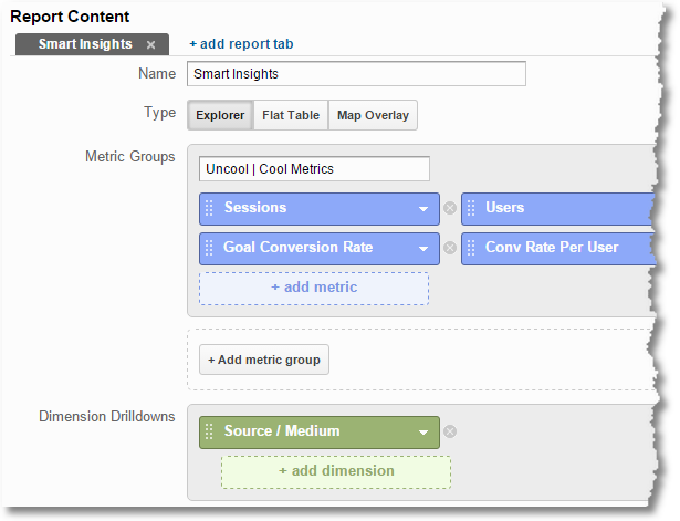 calculated metrics google analytics custom report creation