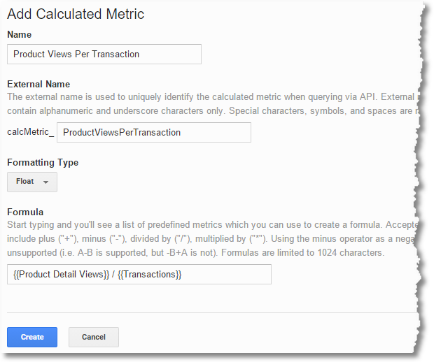 calculated metrics product views per transaction