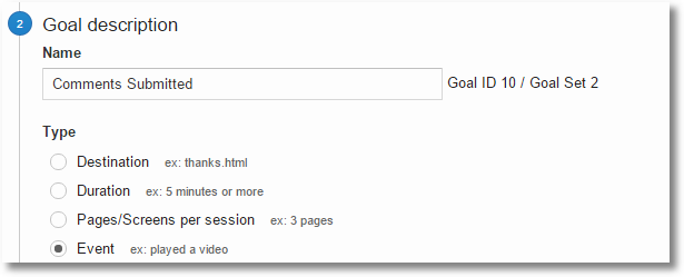 google analytics events goal